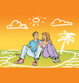 young beautiful couple dreams of travel vector image vector image