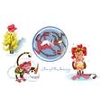 Cheerful monkeys Santa and fir-tree from bananas vector image
