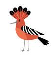 hoopoe cartoon bird icon vector image