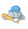 playing baseball tray character cartoon style vector image