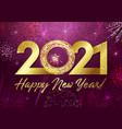 2021 golden glittering 3d fireworks purple vector image vector image