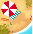 beach sea surfboard umbrella and towel vector image