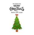 beautiful elegant green christmas tree bright vector image