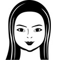 black and white of calm chinese woman vector image vector image