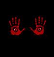 bloody hand prints with red eyes inside on black vector image vector image