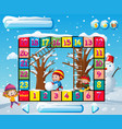 boardgame template with kids in winter vector image vector image