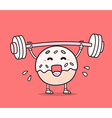 bright color donut with barbell lifting w vector image vector image