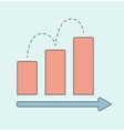 Business graph with red rising bar vector image vector image