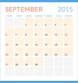 Calendar 2015 flat design template September Week vector image vector image