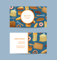 cartoon bakery business card template vector image vector image