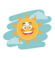 cheerful cartoon sun facial expression image vector image