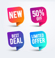 colorful speech bubble set for web and sale vector image vector image
