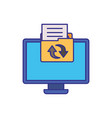computer screen with objects isolated icon vector image vector image