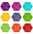 crossed screwdriver and wrench icons set 9 vector image vector image