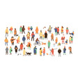 crowd tiny people dressed in winter clothes or vector image vector image