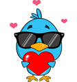 Cute Bird Holding a Love Heart Cartoon vector image vector image