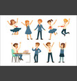 cute pupils in blue school uniform having fun at vector image vector image