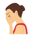 depressed young woman crying vector image vector image