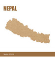 detailed map of nepal cut out of craft paper vector image