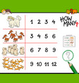 dogs counting game cartoon vector image vector image