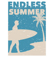 endless summer surfing vintage retro poster vector image vector image
