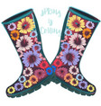 fashion spring with green rubber boots decorated vector image vector image