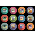 Flat icons of owls with long shadow effect vector image vector image