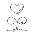 follow - word with infinity symbol hand drawn vector image