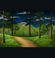 forest scene with trail to the mountain vector image