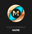 golden letter m logo symbol in blue-golden circle vector image