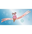 Greeting banner Strawberry icecream with vector image