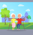 happy grandparents day senior couple on bench vector image vector image
