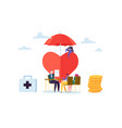 health insurance concept with characters medicine vector image vector image