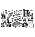 literature set ink and pen typewriter coffee vector image vector image