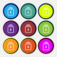 Lock icon sign Nine multi colored round buttons vector image vector image