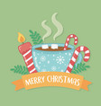 merry christmas card with chocolate cup and sweet vector image vector image
