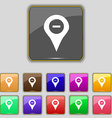 Minus Map pointer GPS location icon sign Set with vector image vector image