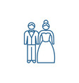 newlyweds line icon concept newlyweds flat vector image vector image