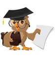 Owl holding a briefcase and paper vector image vector image