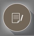 paper and pencil sign white icon on brown vector image vector image