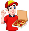 pizza deliveryman holding tasty hot pizza and show vector image