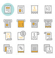 receipt flat line icon set vector image