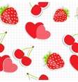 Seamless pattern with heart cherry strawberry vector image vector image