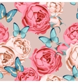 Seamless peony roses and butterfly vector image