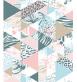 seamless triangle pattern tropical birds palms vector image