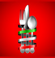 silver cutlery and italian flag ribbon on red vector image vector image