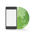 smart phone in front of green globe vector image vector image