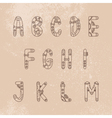 Steampunk font A-M vector image vector image