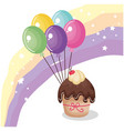 sweet and delicious cupcake with balloons air vector image vector image