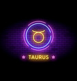 taurus zodiac symbol in neon style on a wall vector image vector image